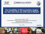 The feasibility of HIV prevention studies for men who have sex with men in Malawi