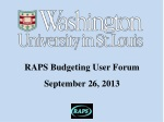 RAPS Budgeting User Forum September 26, 2013