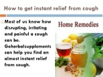 How to get instant relief from cough