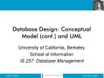 Database Design: Conceptual Model (cont.) and UML
