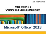 Word Tutorial 1 Creating and Editing a Document