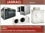 Appliance Standards and Rulemaking Federal Advisory Committee (ASRAC) Commercial HVAC, WH, and Refrigeration Working Gr