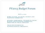 FY2013 Budget Forum