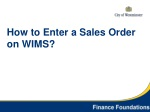 How to Enter a Sales Order on WIMS?