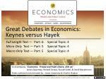 Great Debates in Economics: Keynes versus Hayek
