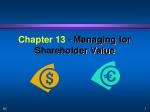 Chapter 13 - Managing for Shareholder Value