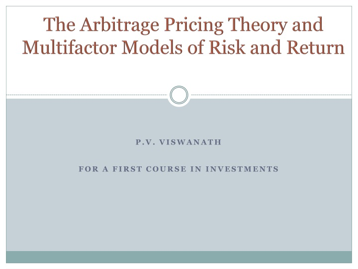 the arbitrage pricing theory and multifactor models of risk and return n.