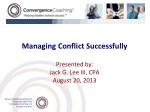 Managing Conflict Successfully