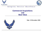Commercial Acquisitions  and  Best Value