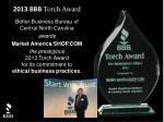 Better Business Bureau of Central North Carolina awards Market America/SHOP.COM