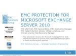 EMC PROTECTION FOR MICROSOFT EXCHANGE SERVER 2010
