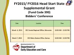 FY2015/ FY2016 Head Start State Supplemental Grant (Fund Code 390)  Bidders' Conference