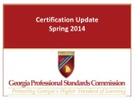 Certification Update Spring 2014