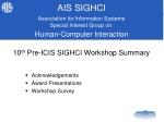 10 th Pre-ICIS SIGHCI Workshop Summary