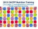 2013 CACFP Nutrition Training