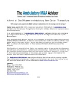 A Look at Due Diligence in Ambulatory Care Center Transactio