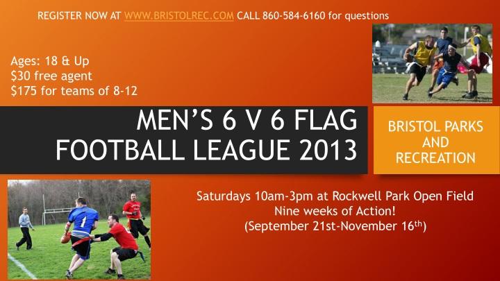 men s 6 v 6 flag football league 2013 n.