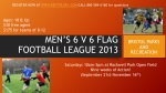 MEN'S 6 V 6 FLAG FOOTBALL LEAGUE 2013