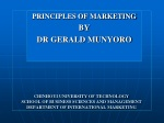 PRINCIPLES OF MARKETING BY DR GERALD MUNYORO
