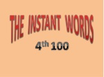 THE INSTANT WORDS