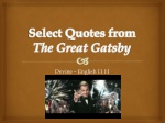 Select Quotes from  The Great Gatsby