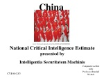 National Critical Intelligence  Estimate presented by Intelligentia Securitatem Machinis