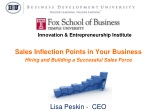 Sales Inflection Points in Your Business Hiring and Building a Successful Sales Force Presented by