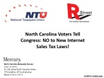 North Carolina Voters Tell Congress: NO to New Internet Sales Tax Laws!