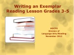 Writing an Exemplar Reading Lesson Grades 3-5