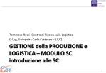 GESTIONE della PRODUZIONE e LOGISTICA – MODULO SC introduzione alle SC