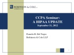 CCPA Seminar: A HIPAA UPDATE September 11, 2012