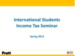 International Students Income Tax Seminar Spring 2012