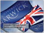 University of Warwick, England Business and Management