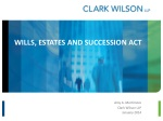 WILLS, ESTATES AND SUCCESSION ACT