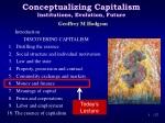 Conceptualizing Capitalism Institutions, Evolution, Future