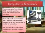 Computers in Restaurants