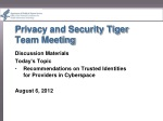 Privacy and Security Tiger Team Meeting