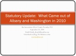 Statutory Update: What Came out of Albany and Washington in 2010