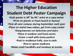 "The Higher E ducation Student Debt Poster Campaign Each poster is 34"" by 44,"" print at a copy center Print on plasti"