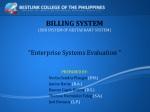 BILLING SYSTEM (SUB SYSTEM OF RESTAURANT SYSTEM)