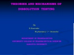 THEORIES AND MECHANISMS OF                    DISSOLUTION  TESTING By
