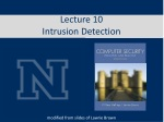 Lecture 10 Intrusion Detection