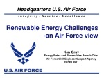 Renewable Energy Challenges -an Air Force view