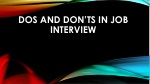 Dos and Don'ts in Job Interview