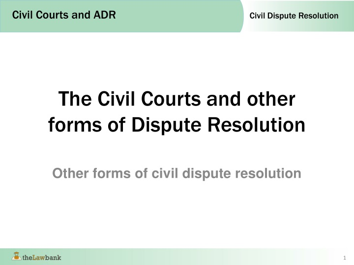 the civil courts and other forms of dispute resolution n.