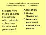 "1. ""Congress shall make no law respecting an establishment of religion…"" [1 st Amendment]"