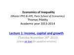 Lecture 1: Income, capital and growth (Tuesday November 26 th 2013)