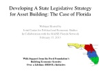 Developing A State Legislative Strategy for Asset Building: The Case of Florida