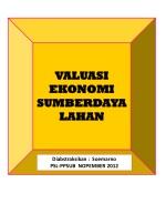 VALUASI  EKONOMI   SUMBERDAYA  LAHAN