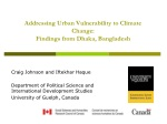 Addressing Urban Vulnerability to Climate Change: Findings from Dhaka, Bangladesh